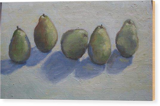 Pears In A Row Wood Print