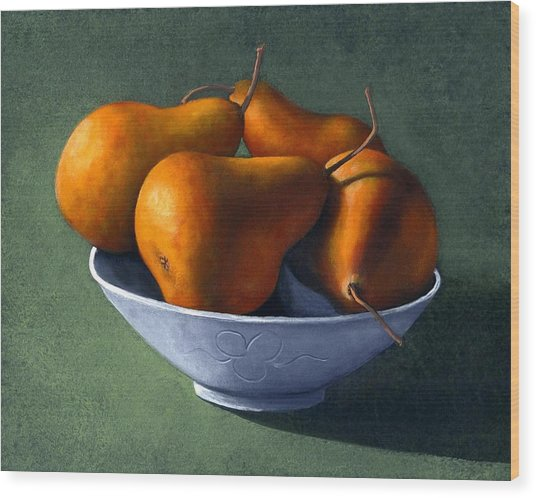 Pears In Blue Bowl Wood Print