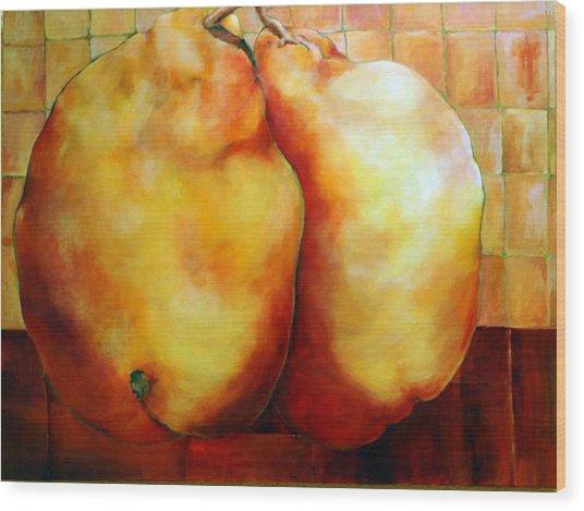 Pears In Love Wood Print