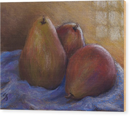 Pears In Natural Light Wood Print by Susan Jenkins