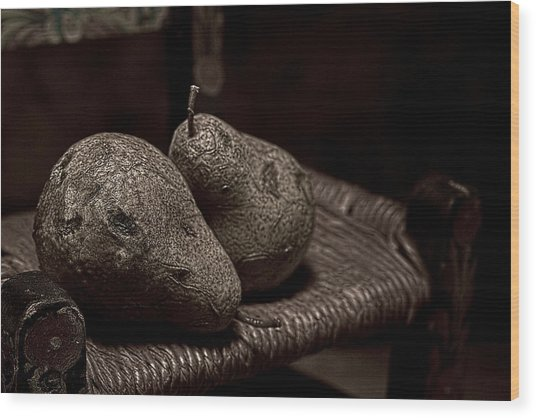 Pears On A Chair I Wood Print