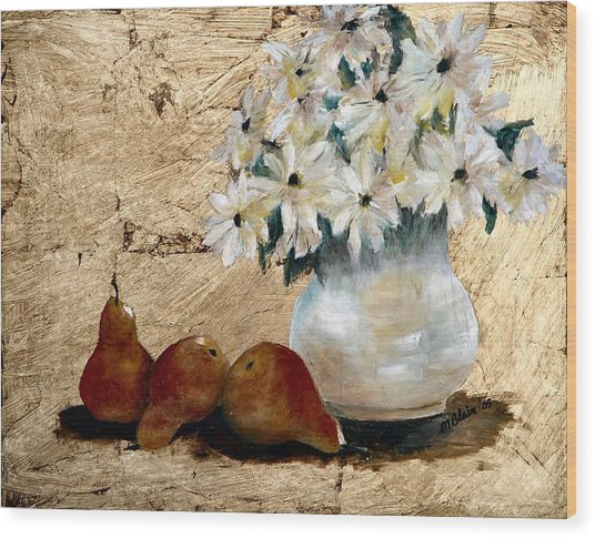 Pears On Gold Wood Print by Merle Blair