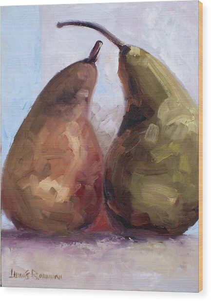 Pears Two Wood Print