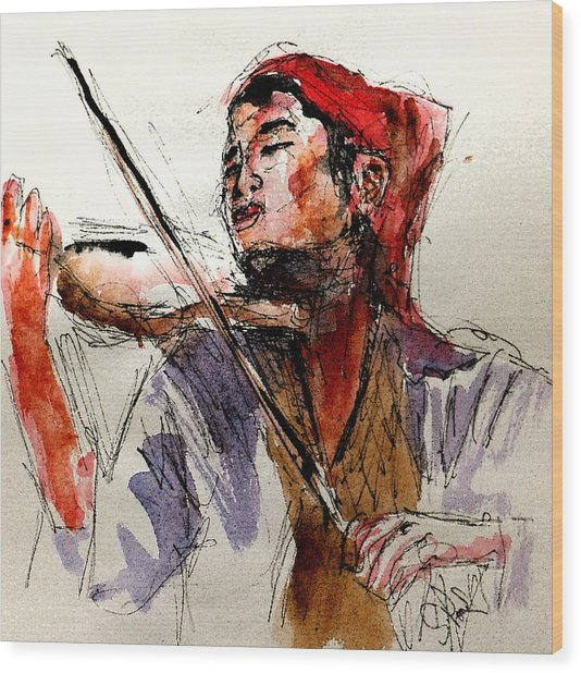 Peasant Violinist Wood Print