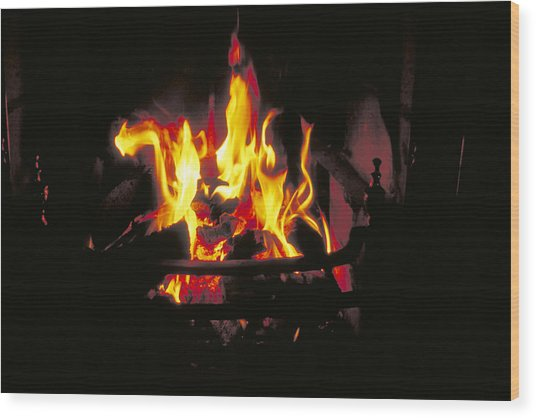Peat Fire In Ireland Wood Print by Carl Purcell