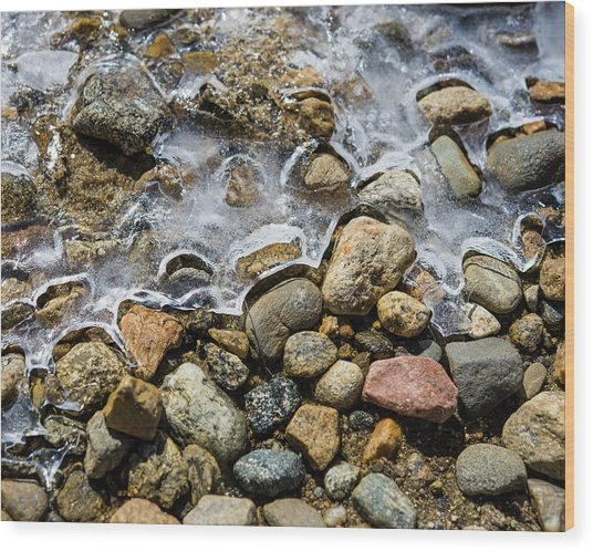 Pebbles And Ice Wood Print