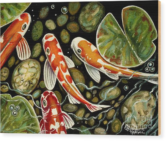 Pebbles And Koi Wood Print