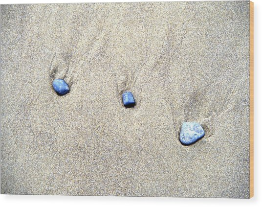 Pebbles In The Sand Wood Print