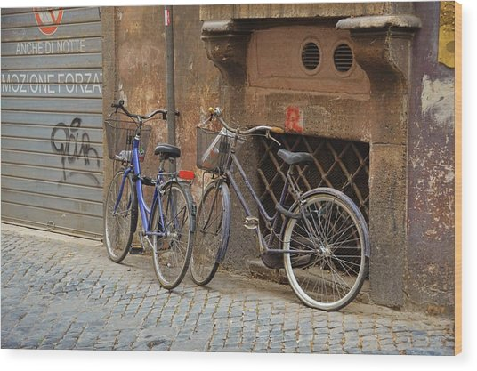 Bicycling Thru Rome Wood Print by JAMART Photography