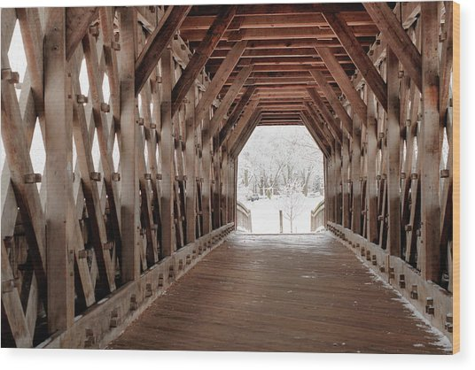 Pedestrian Lattice Bridge Wood Print