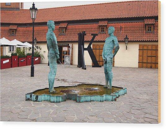 Peeing Men Kafka Museum Prague Czech Republic Wood Print by Wayne Higgs