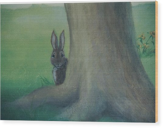 Peek A Boo Behind The Tree Wood Print
