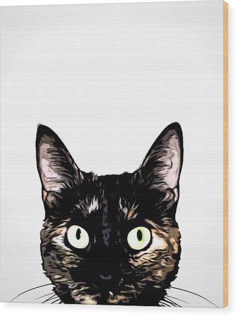 Peeking Cat Wood Print