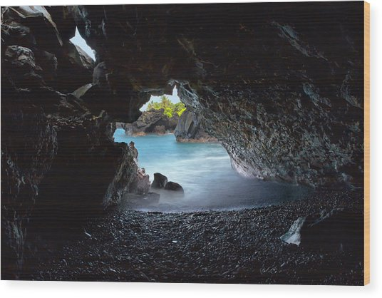 Peeking Through The Lava Tube Wood Print