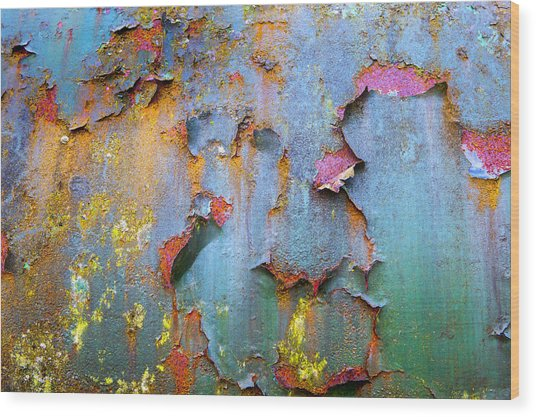 Peeling Paint And Rust Textures 135 Wood Print