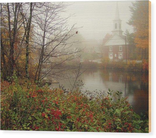Foggy Glimpse Wood Print