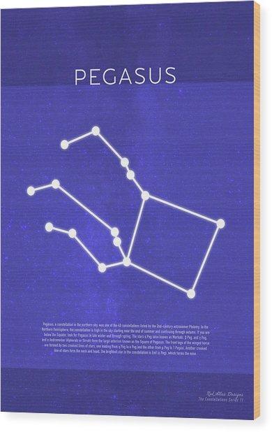 Pegasus The Constellations Minimalist Series 11 Wood Print