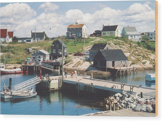 Peggy's Cove Wood Print by Andrea Simon
