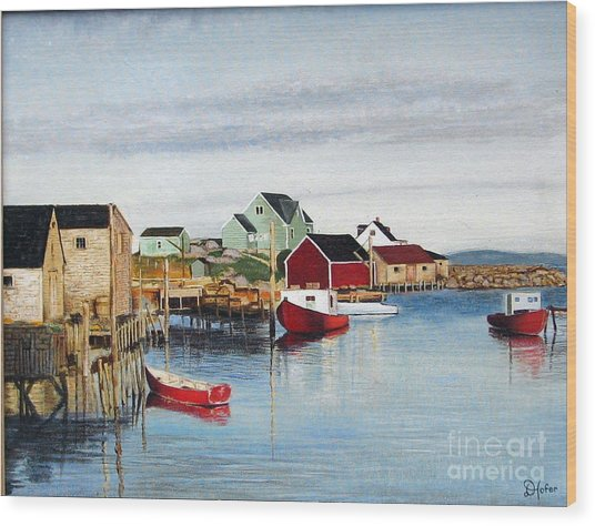 Peggy's Cove Wood Print by Donald Hofer