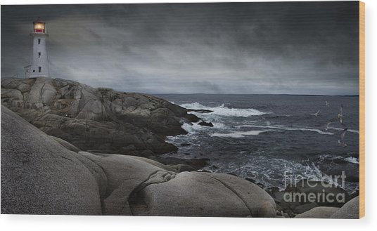 Peggys Cove Impending Storm Wood Print