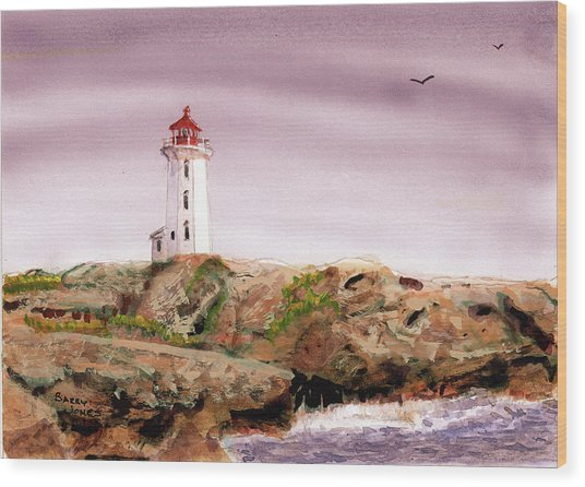 Wood Print featuring the painting Peggy's Cove Light House by Barry Jones