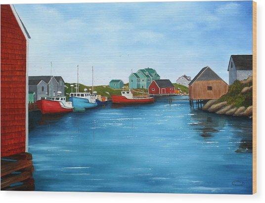 Peggys Cove Nova Scotia Wood Print by Sharon Steinhaus