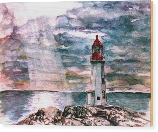 Peggy's Cove Wood Print by Paul Sandilands