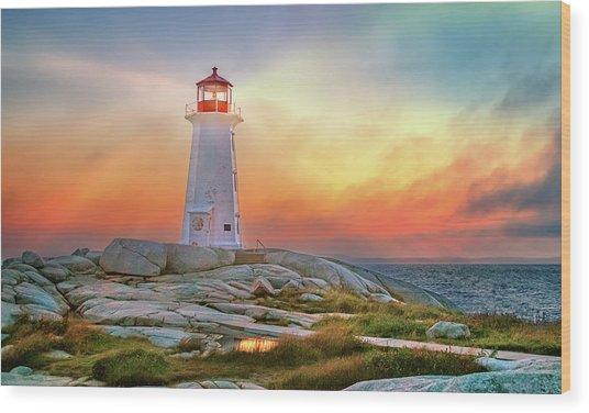 Peggy's Cove Sunset Wood Print