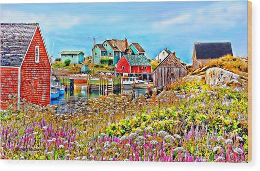 Peggy's Cove Wildflower Harbour Wood Print