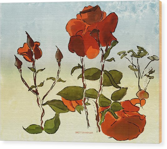 Peka Peka Roses Wood Print by Brett Shand