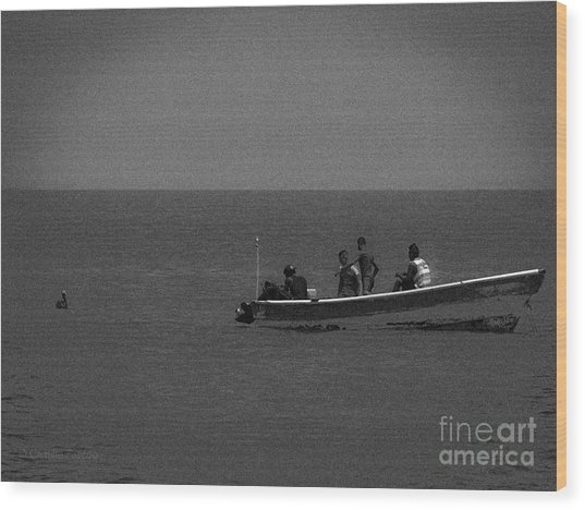Pelican And The Fishing Boat Wood Print