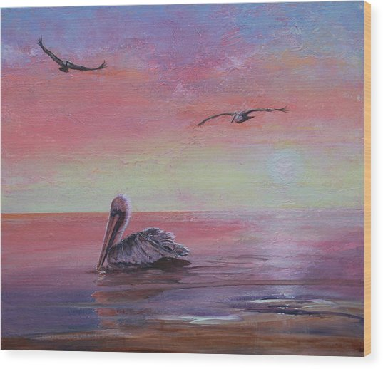 Wood Print featuring the painting Pelican Bay by Ruth Kamenev