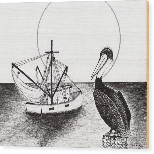 Pelican Fishing Paradise C1 Wood Print