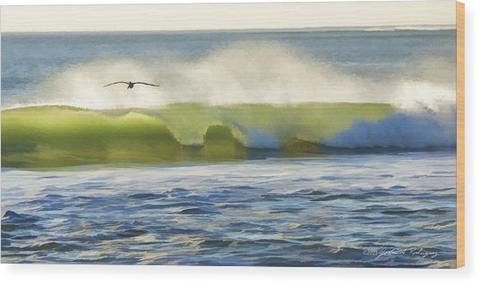 Pelican Flying Over Wind Wave Wood Print