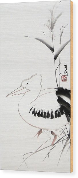Pelican Wood Print by Ming Yeung
