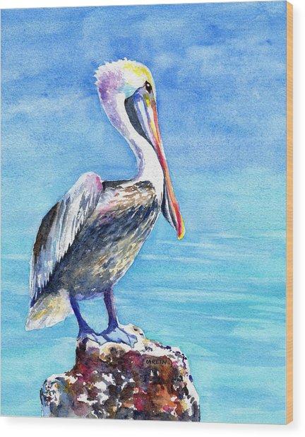 Pelican On A Post  Wood Print