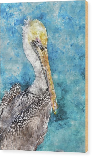 Pelican With Blue Ocean Background Wood Print