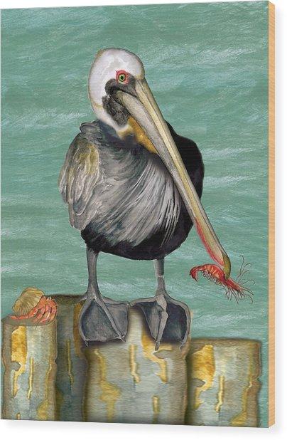 Pelican With Shrimp Wood Print