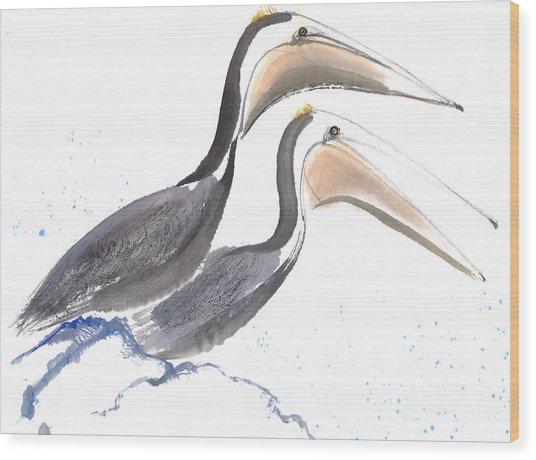 Pelicans Wood Print by Mui-Joo Wee