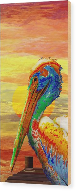 Pelicans Wharf Tequila Sunset Wood Print