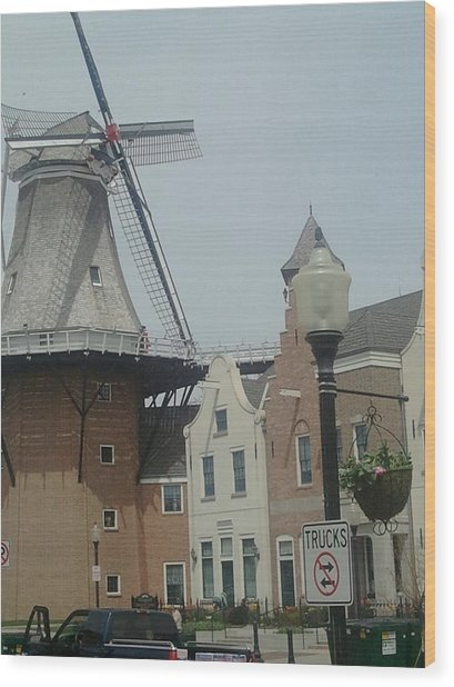 Pella Iowa Windmill Wood Print