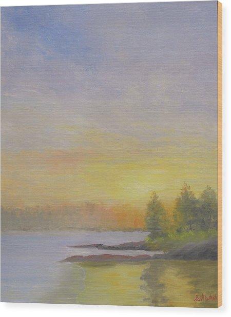Pemaquid Beach Sunset Wood Print