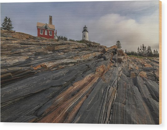 Pemaquid Point Cliffs Wood Print