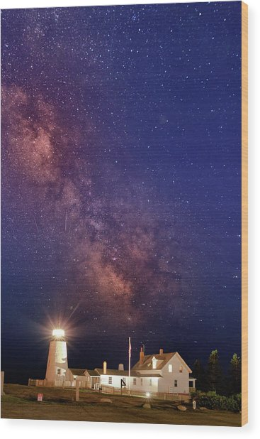 Pemaquid Point Lighthouse And The Milky Way Wood Print