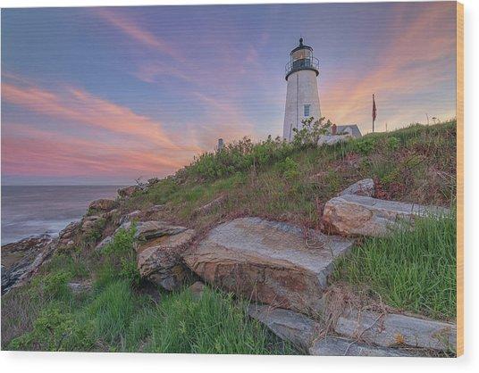 Pemaquid Point Sunset Wood Print