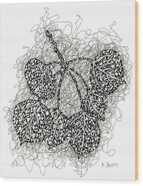 Pen And Ink Drawing Of Aspen Leaves Wood Print
