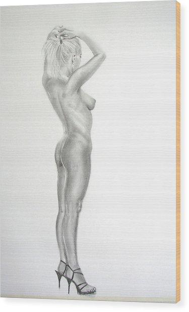 Pencil Nude 16 Wood Print