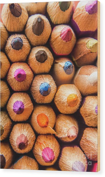 Pencil Pointers Wood Print