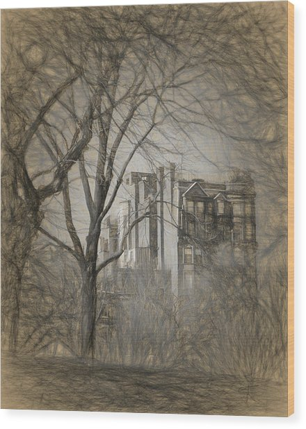 Pencil Sketch Of Beacon Hill Wood Print