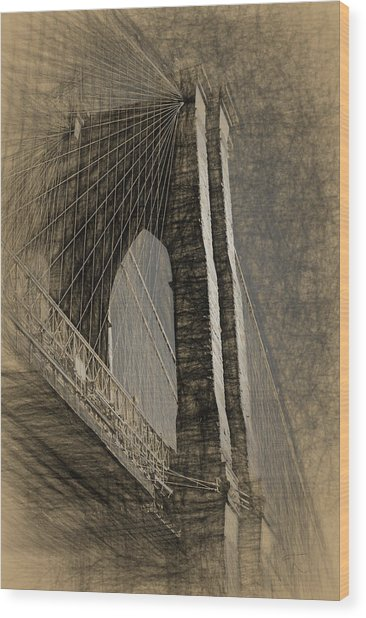 Pencil Sketch Of The Brooklyn Bridge Wood Print